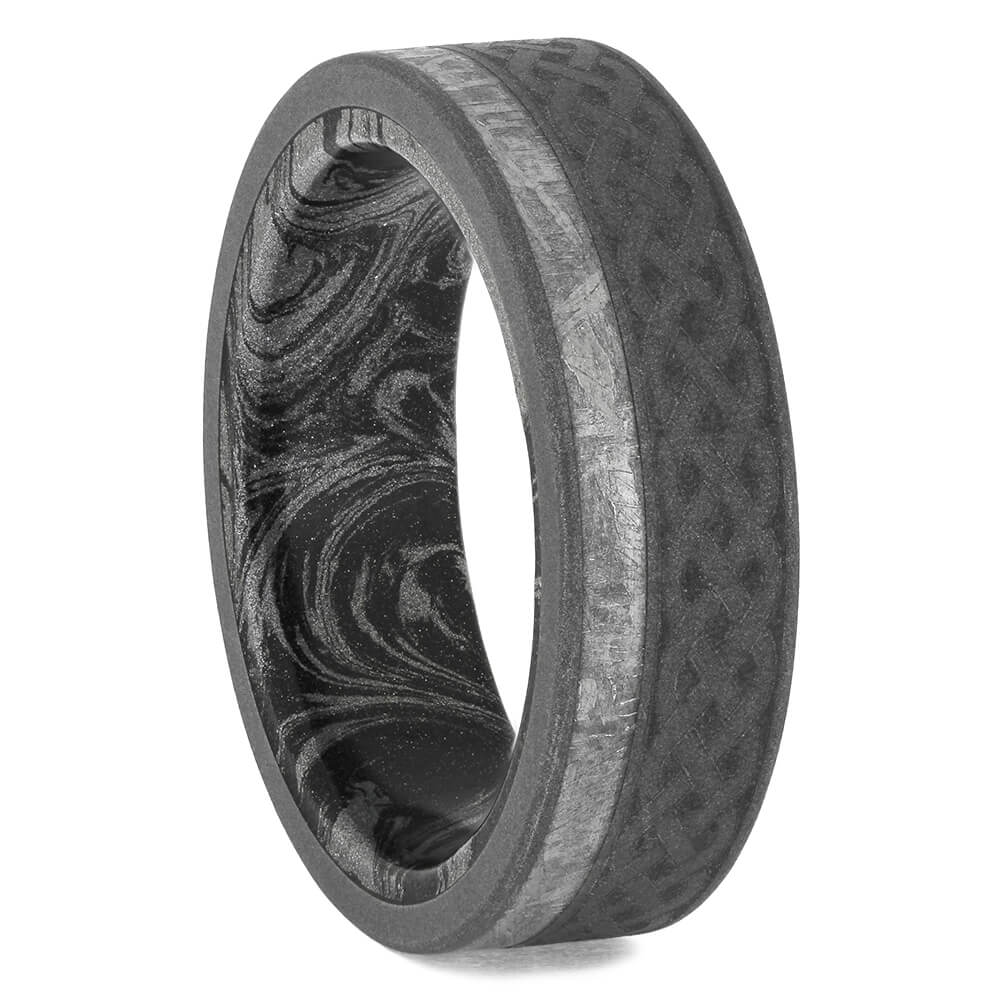 Men's Meteorite Ring with Celtic Pattern and Mokume Sleeve, Size 10.5-RS11565 - Jewelry by Johan