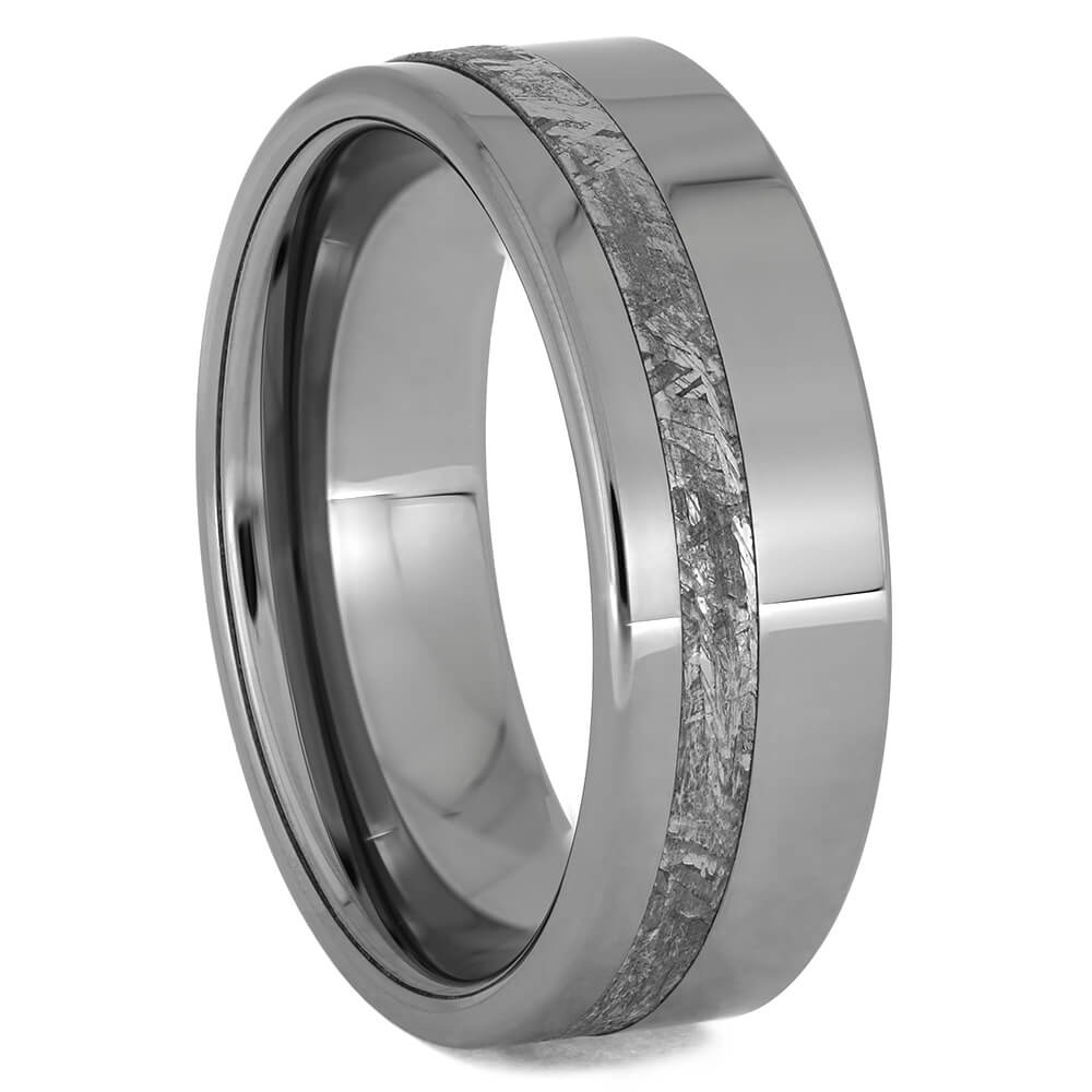 Men's Tungsten Ring with Gibeon Meteorite, Size 11.25-RS11566 - Jewelry by Johan