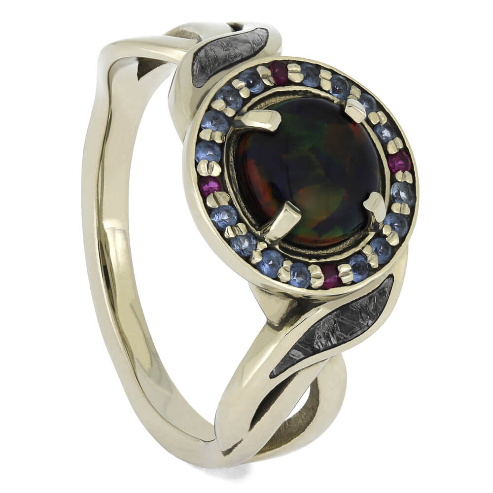 Opal Engagement Ring With Aquamarines And Rubies, Size 8-RS11567 - Jewelry by Johan