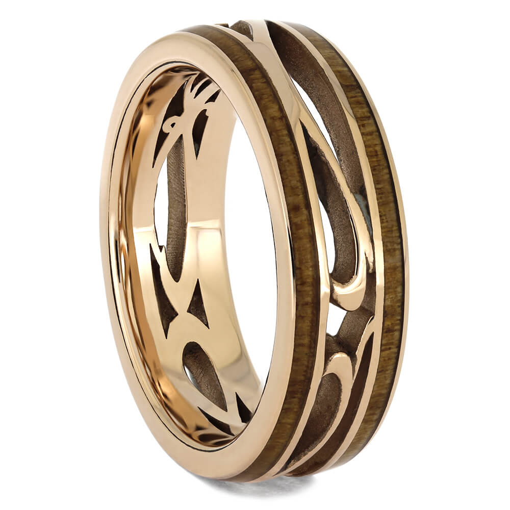 Rose Gold Filligree Wedding Band with Cherry Wood, Size 8-RS11573 - Jewelry by Johan