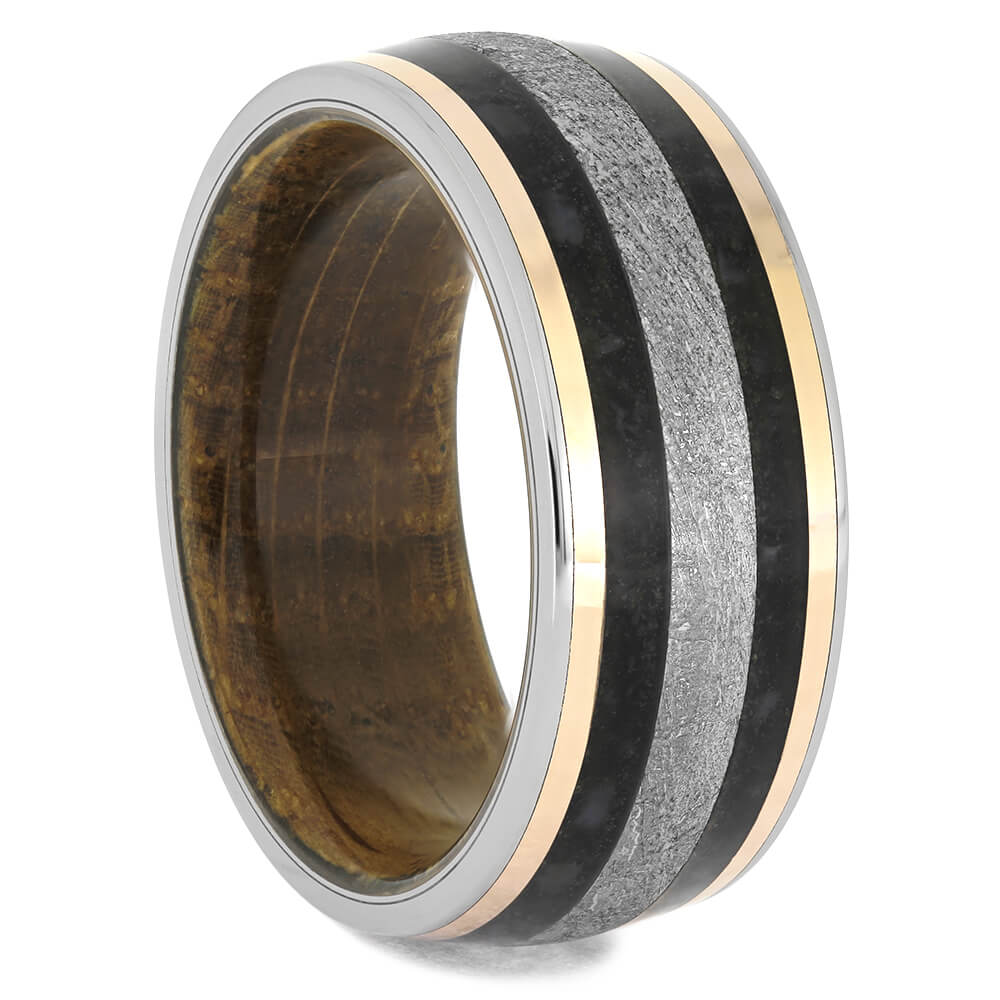 Whiskey Barrel Wedding Band with Meteorite and Dino, Size 11.5-RS11575 - Jewelry by Johan