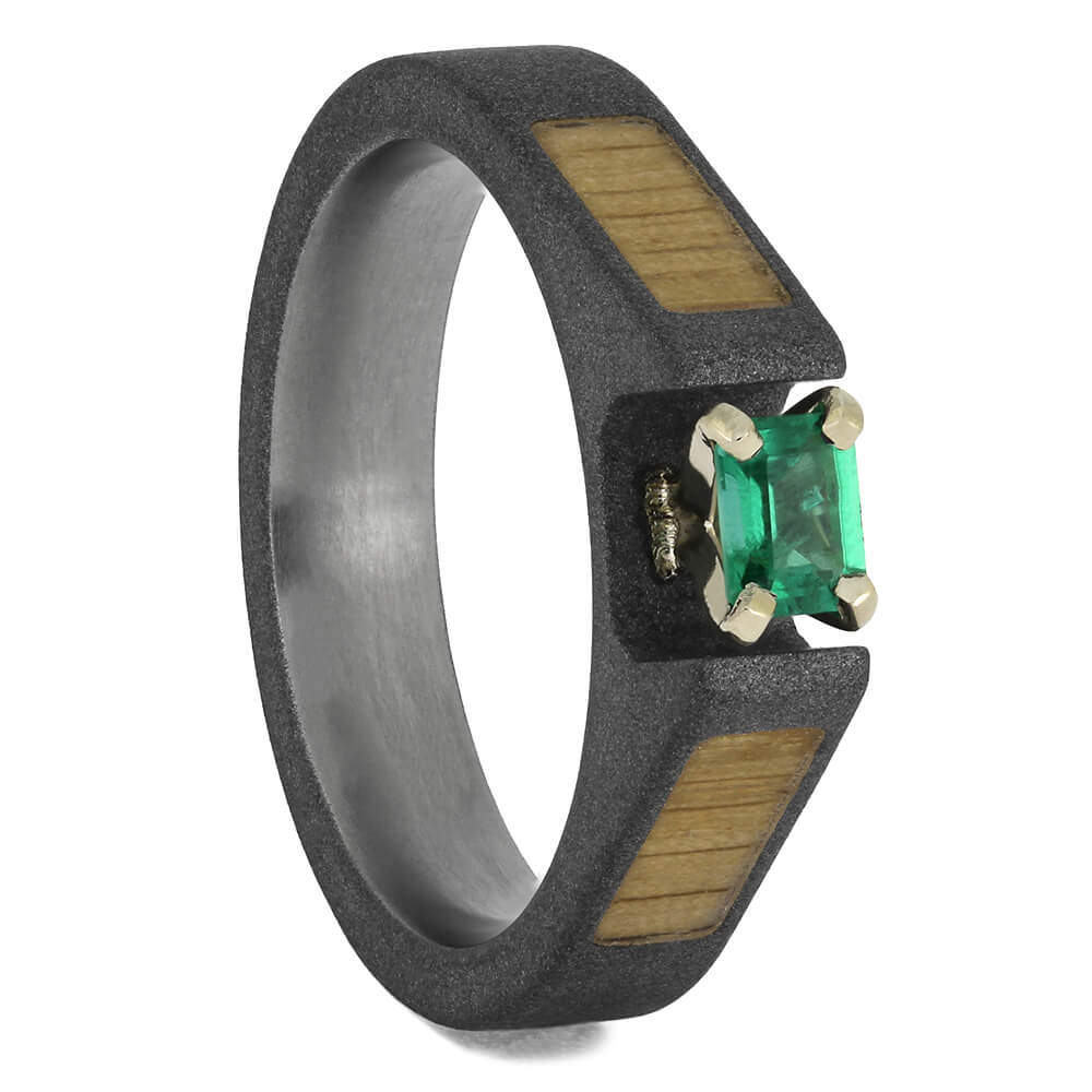 Emerald Engagement Ring with Oak Inlays, Size 5.75-RS11576 - Jewelry by Johan