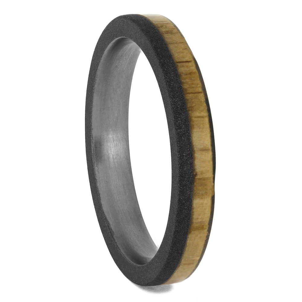 Narrow Oak Wood Ring With Sandblasted Titanium Finish, Size 5.75-RS11577 - Jewelry by Johan