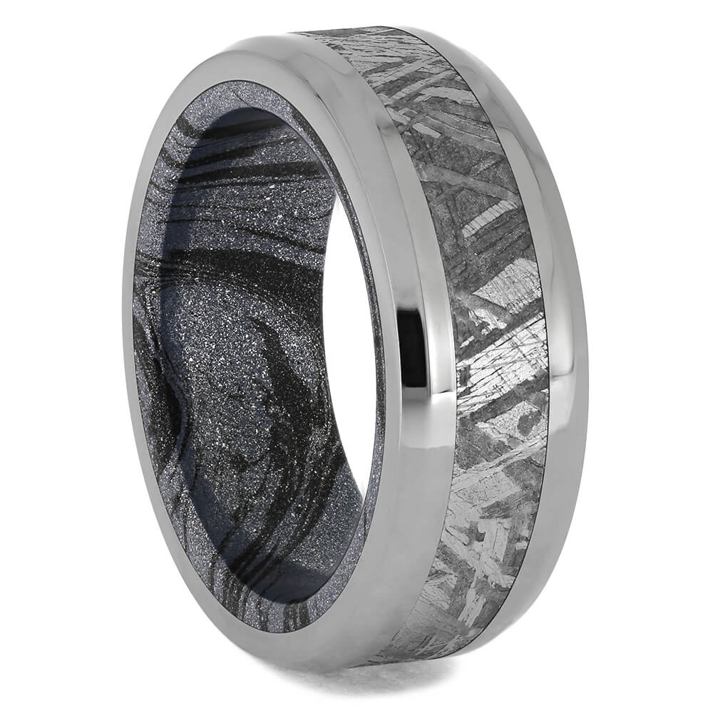 Meteorite Wedding Band With Cobaltium Mokume Sleeve, Size 8.5-RS11578 - Jewelry by Johan