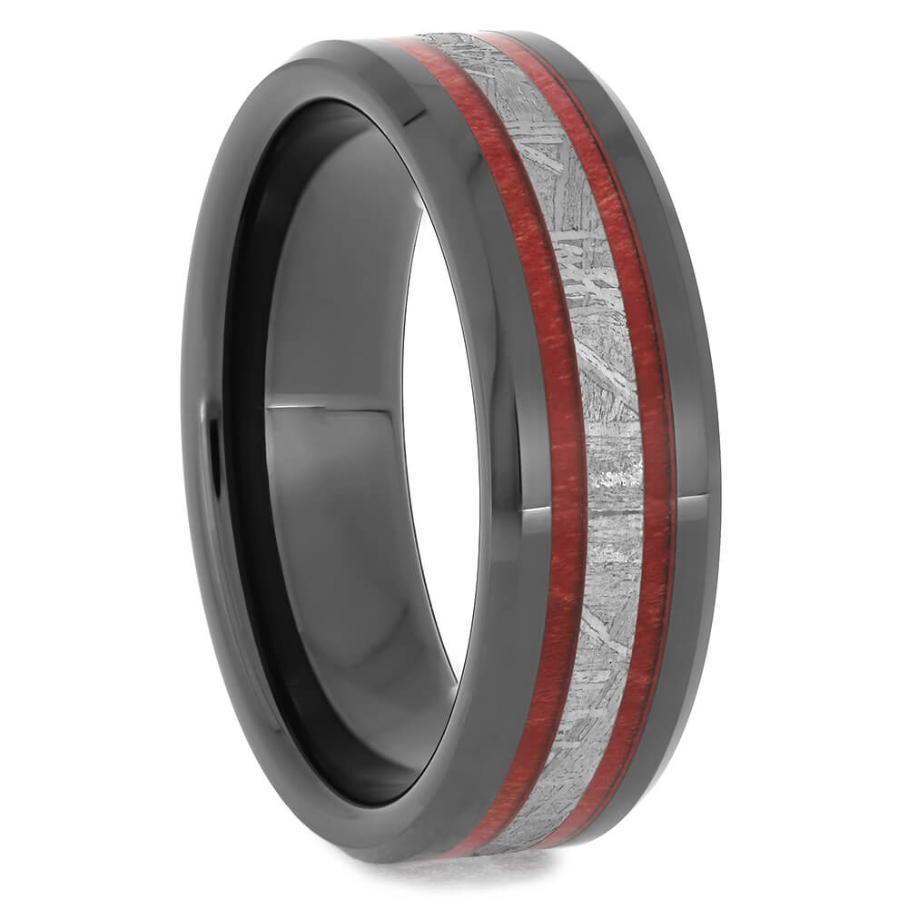 Black Wedding Band with Red Box Elder and Meteorite, Size 13-RS11582 - Jewelry by Johan