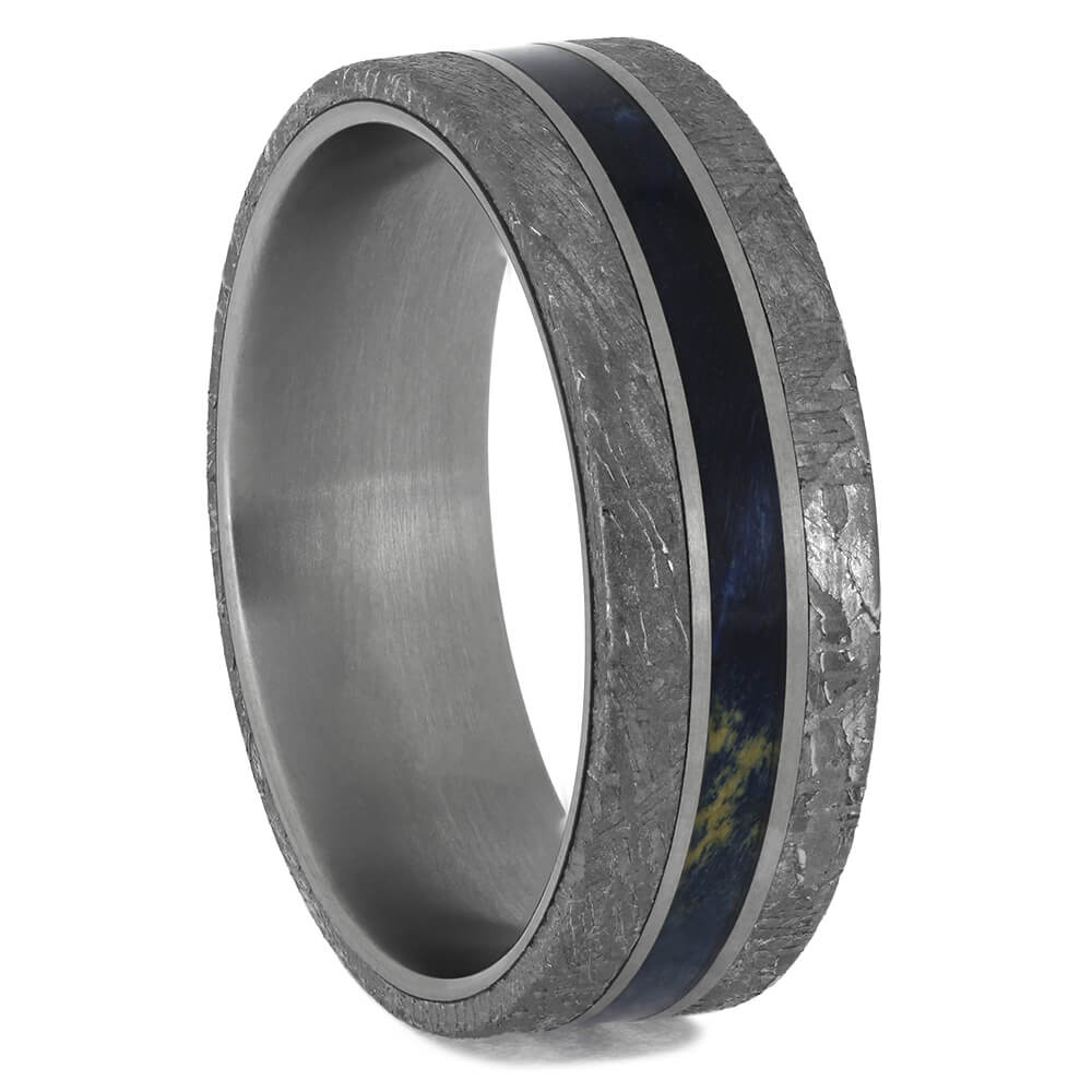 Blue Wood and Meteorite Wedding Band for Men, Size 9-RS11586 - Jewelry by Johan