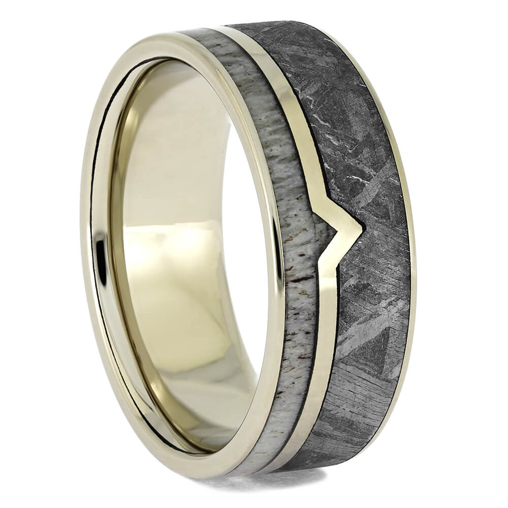 Authentic Meteorite Ring with White Gold Edges