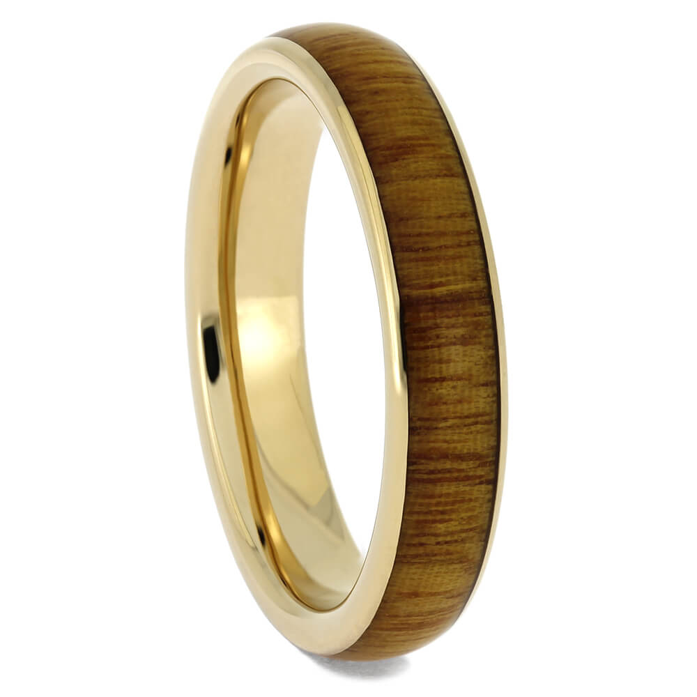 Wood Wedding Band with Yellow Gold Edges