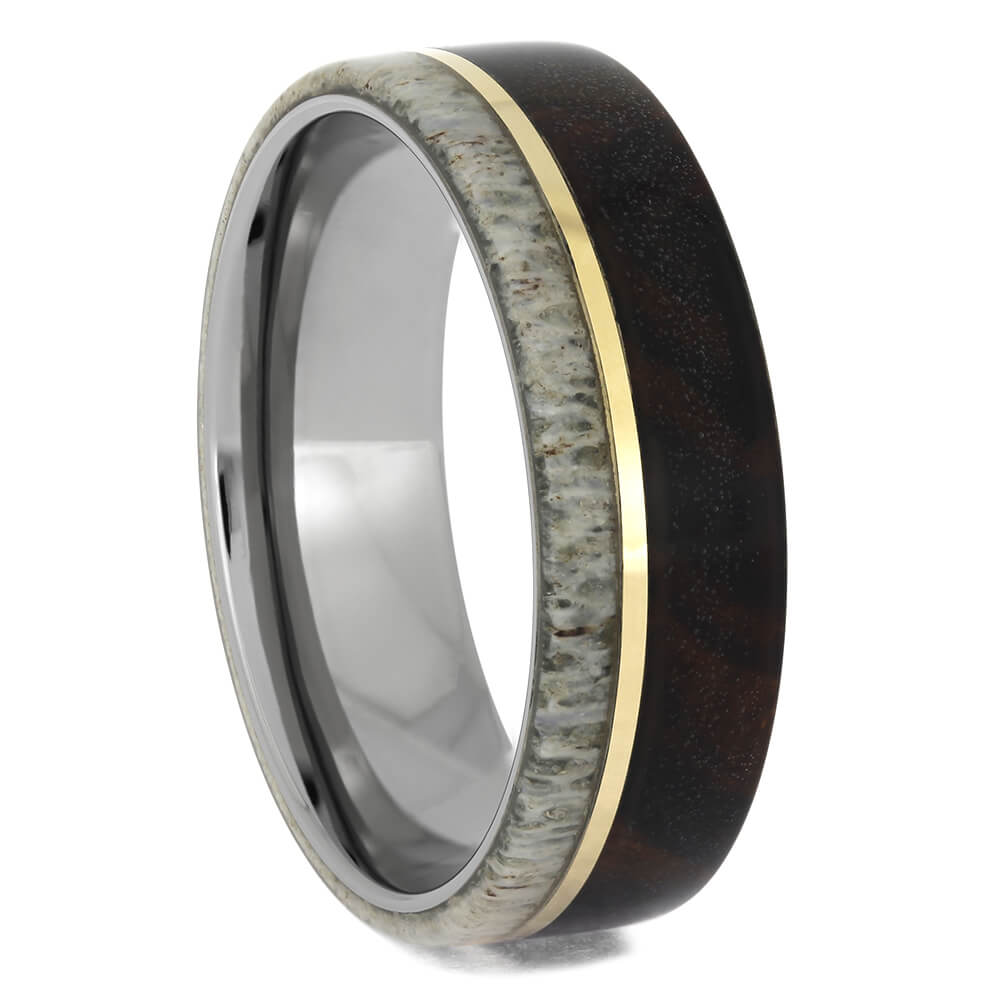 Ironwood Wedding Band with Yellow Gold