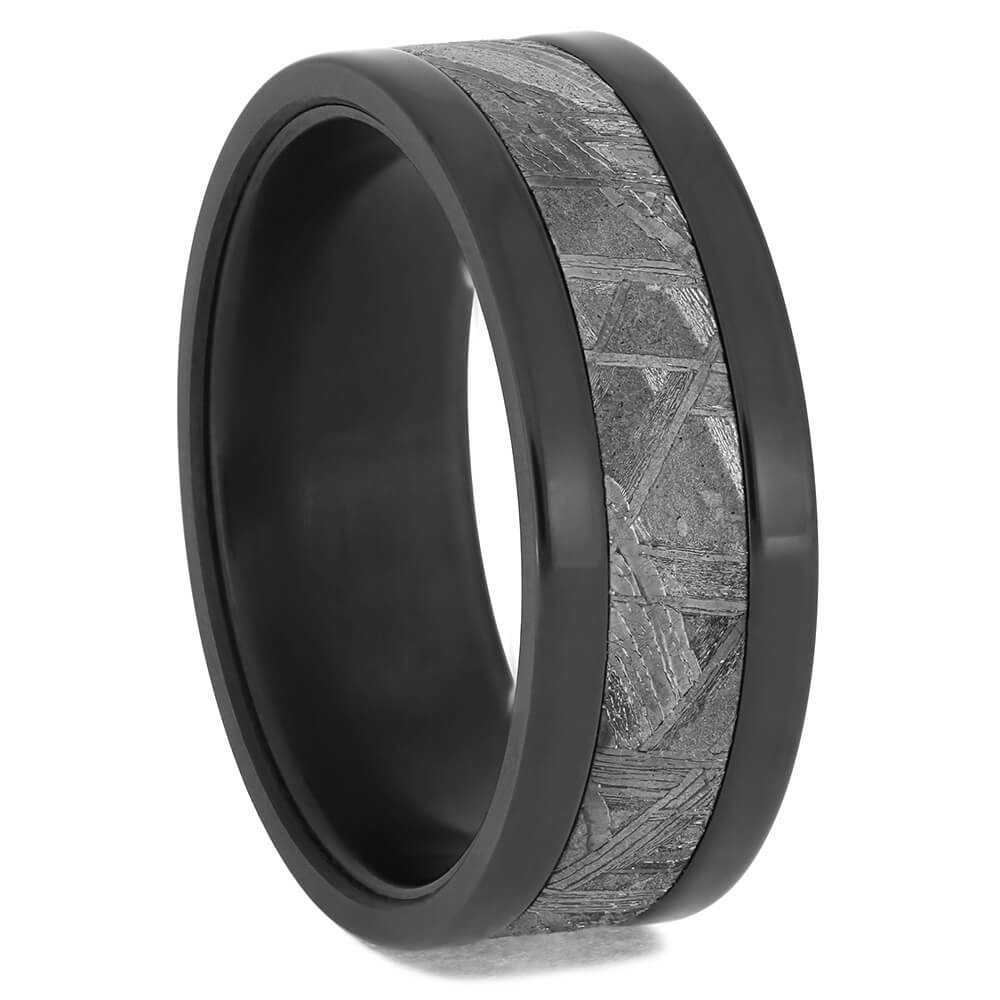 Black Zirconium Ring with Meteorite