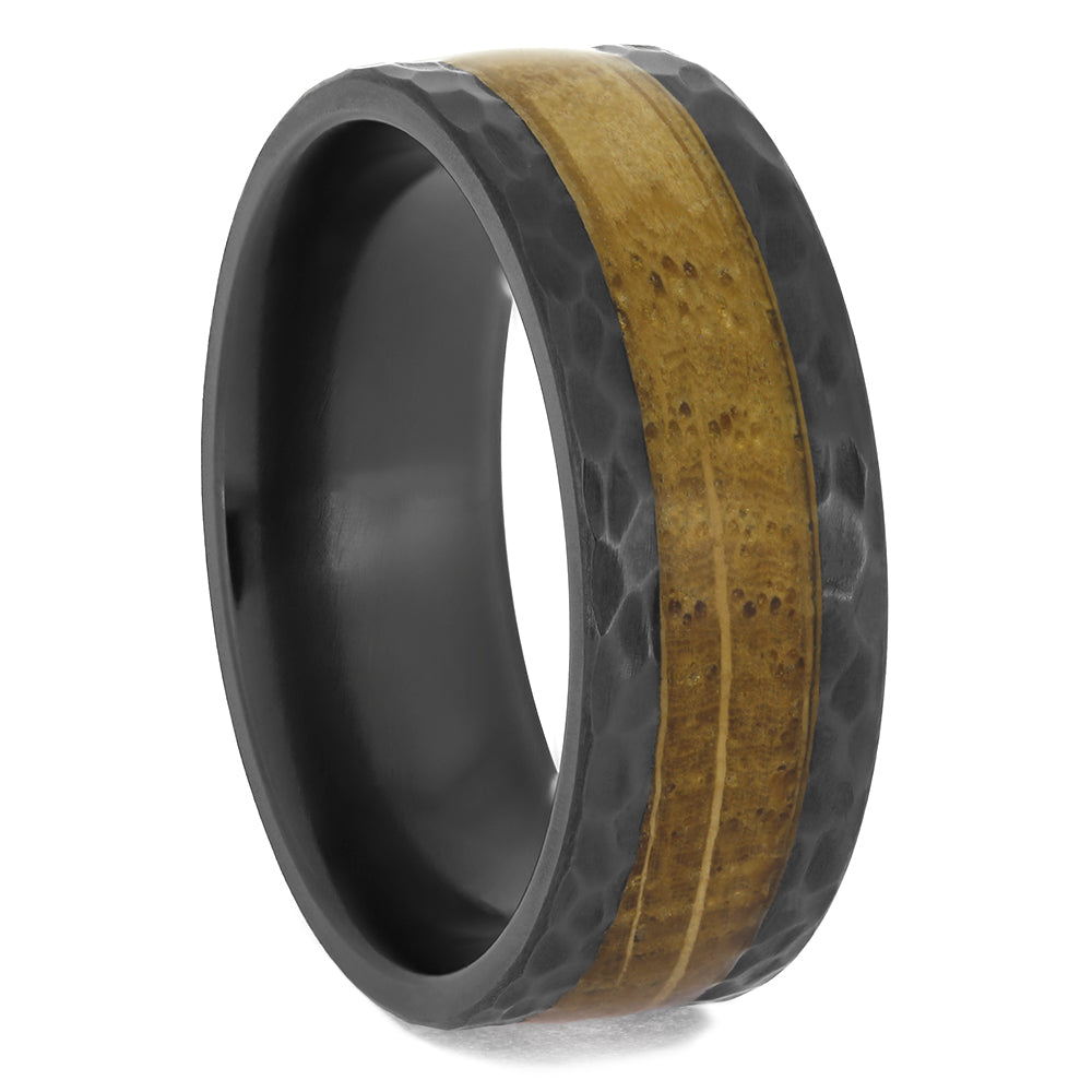 Black Zirconium and Whiskey Wood Ring