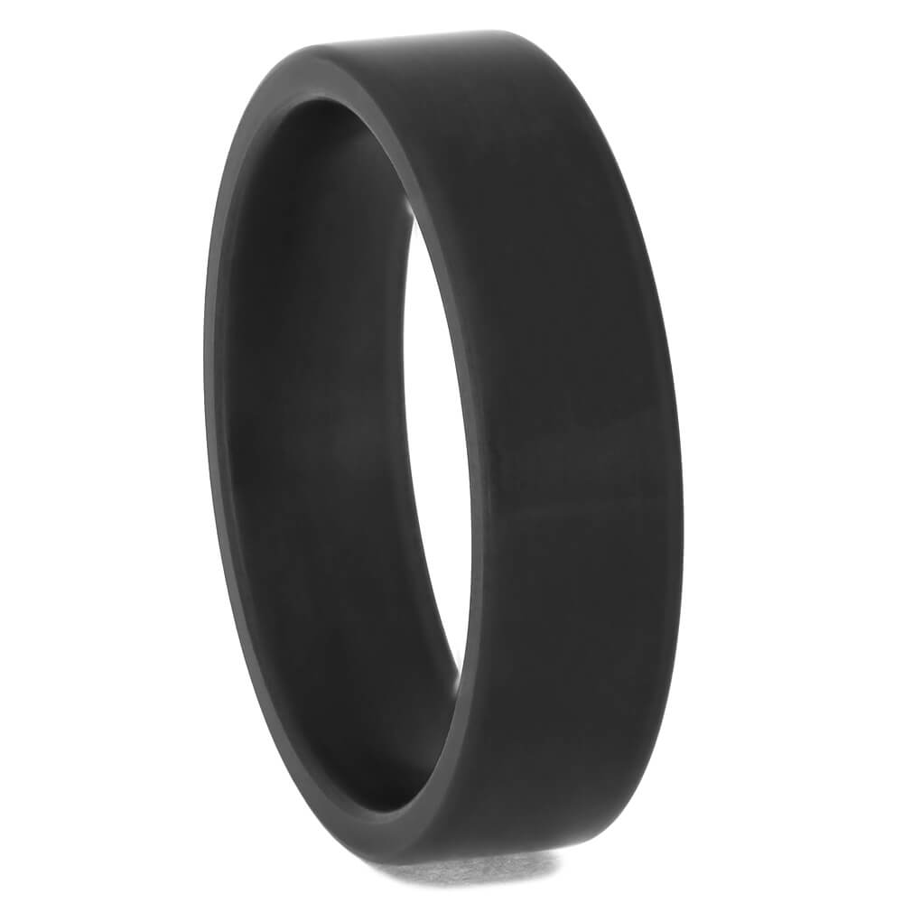 Simple Black Zirconium Wedding Band