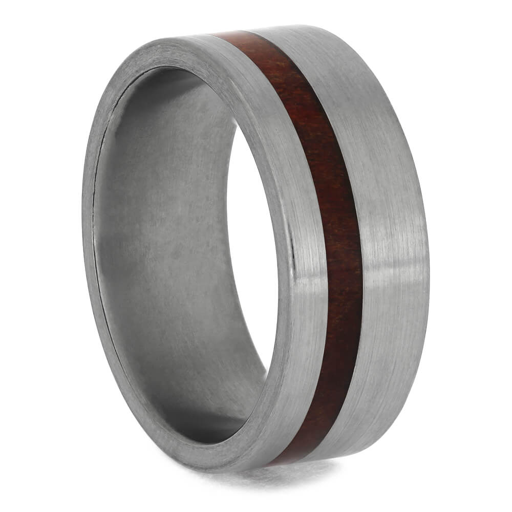 Ruby Redwood Wedding Band with Brushed Titanium, Size 8-RS8431 - Jewelry by Johan