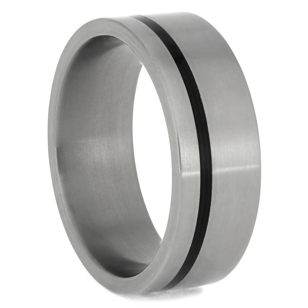 Black Enamel Wedding Band with Matte Titanium Edges
