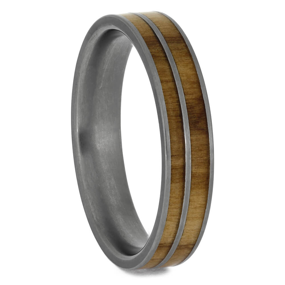 Men S Olive Wood Wedding Ring In Titanium Size 11 75 Rs8760 Jewelry By Johan