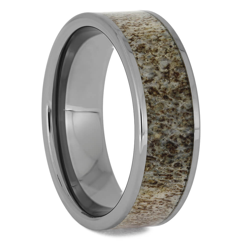 Tungsten Men's Wedding Band with Antler, Size 12-RS8775 - Jewelry by Johan