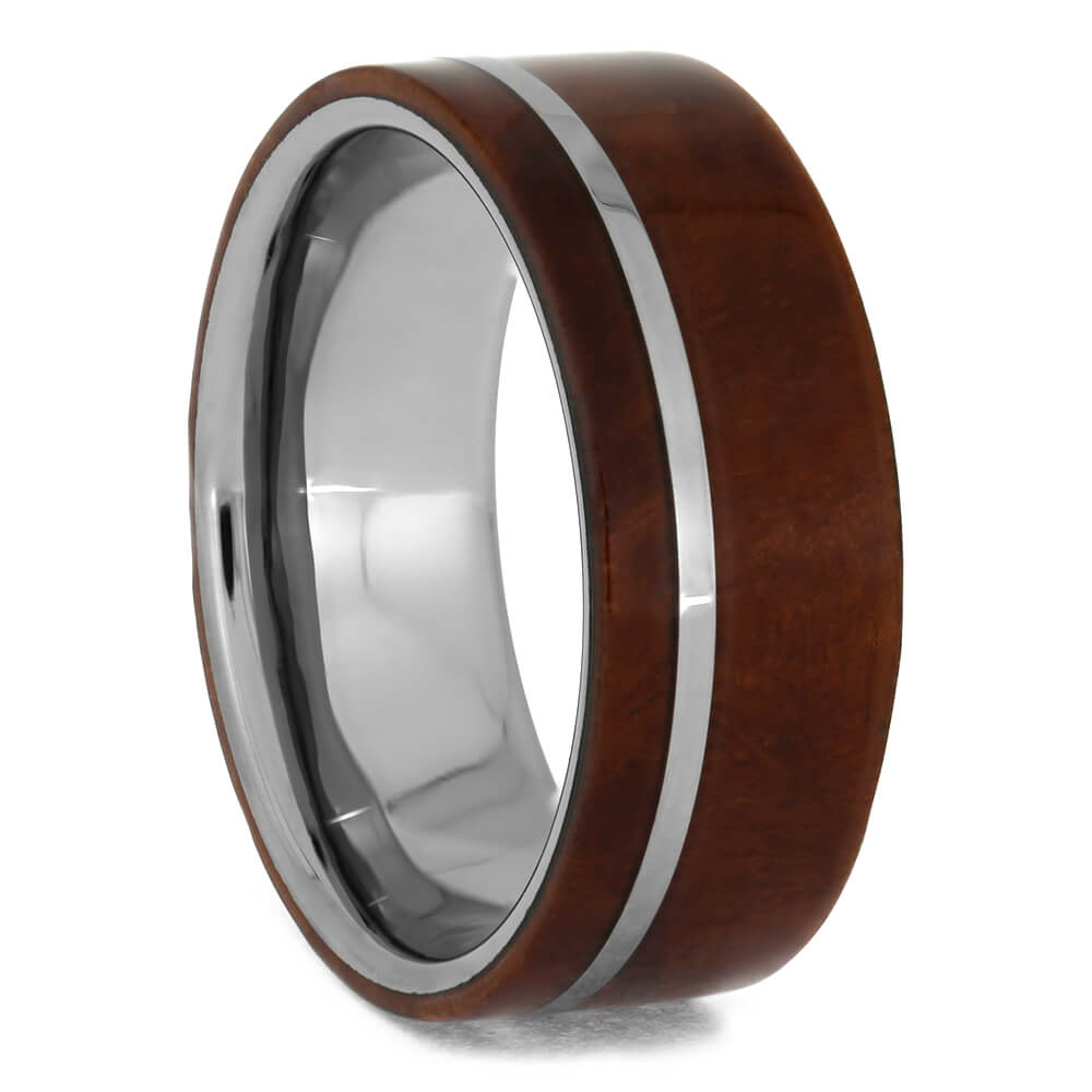 Tungsten Wedding Band with Ironwood Burl And Pinstripe, Size 9-RS8895 - Jewelry by Johan
