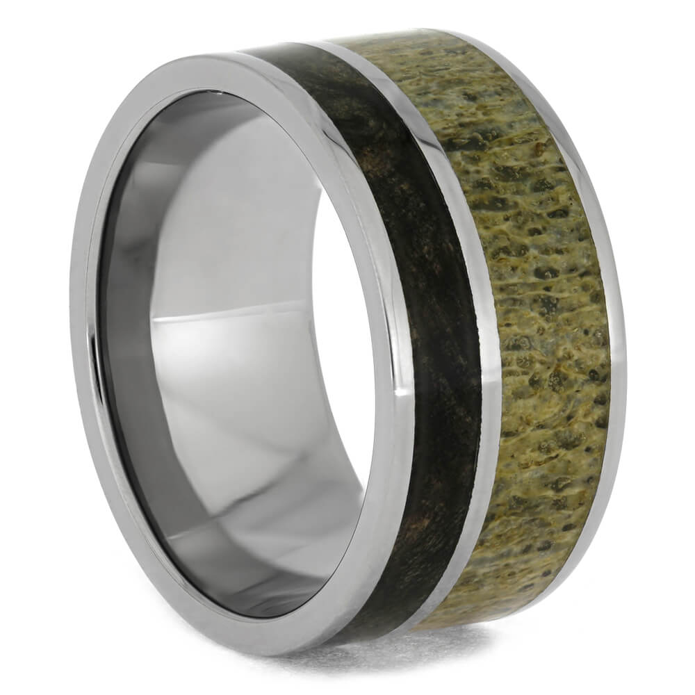 Deer Antler and Buckeye Burl Wood Ring in Titanium Band, Size 9.5-RS8975 - Jewelry by Johan