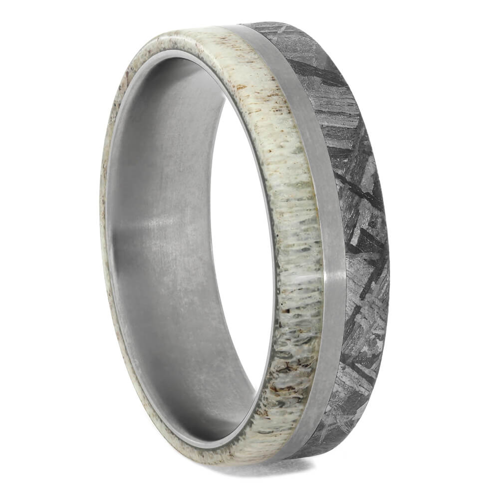 Meteorite Wedding Band With Deer Antler, Size 12.75-RS9131 - Jewelry by Johan