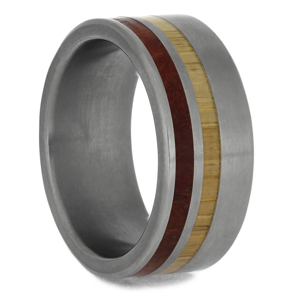 Multiple Wood Wedding Band with Titanium Edges