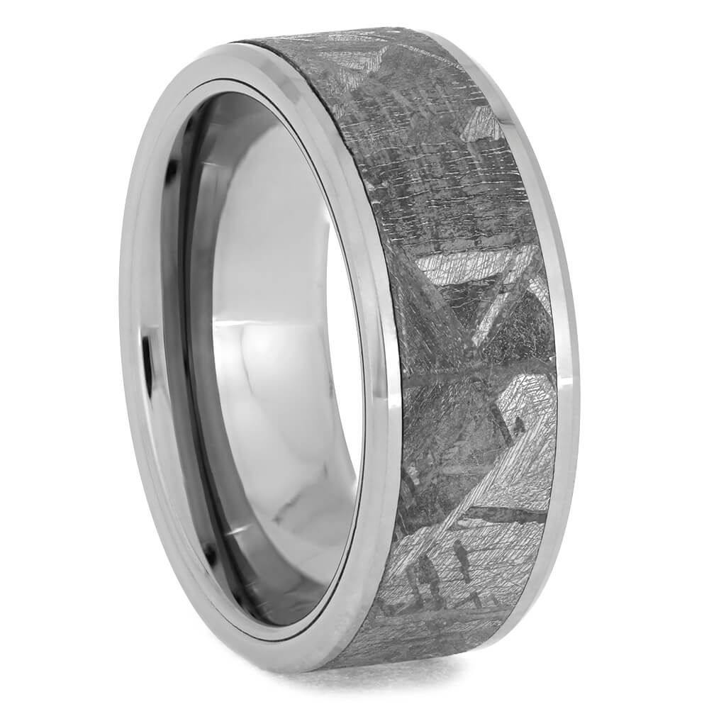 Beveled Tungsten Wedding Band With Meteorite, Size 7.75-RS9421 - Jewelry by Johan