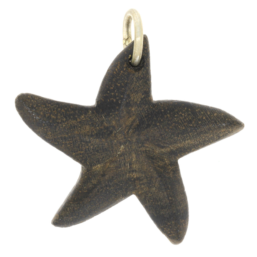 Star Shaped Wood Pendant, Starfish Necklace with Sterling Silver Bail-RS9466 - Jewelry by Johan