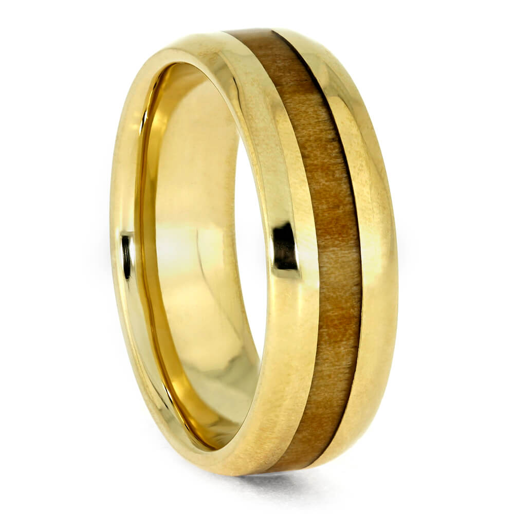 Brass Ring with Rowan Wood Inlay, Size 7-RS9727 - Jewelry by Johan