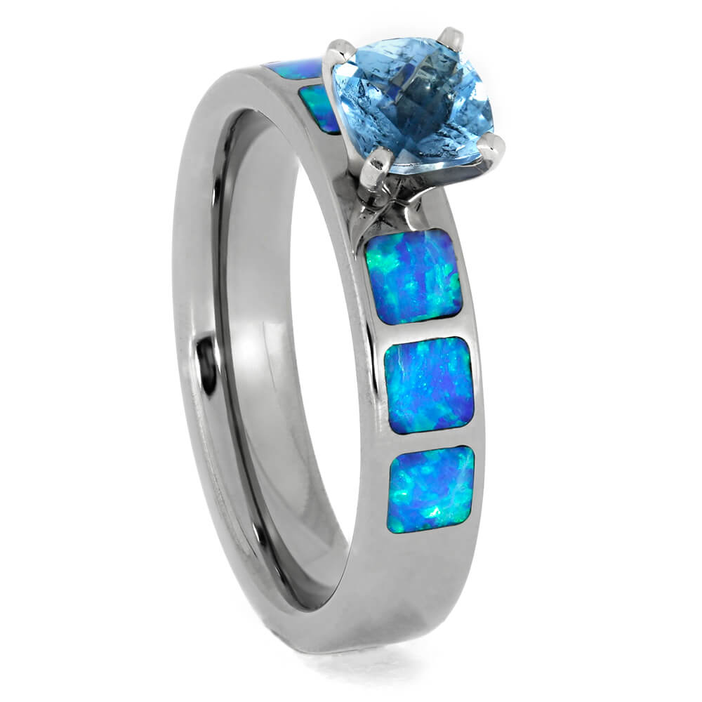Aquamarine Engagement Ring with Opal in Titanium, Size 5.75-RS9837 - Jewelry by Johan