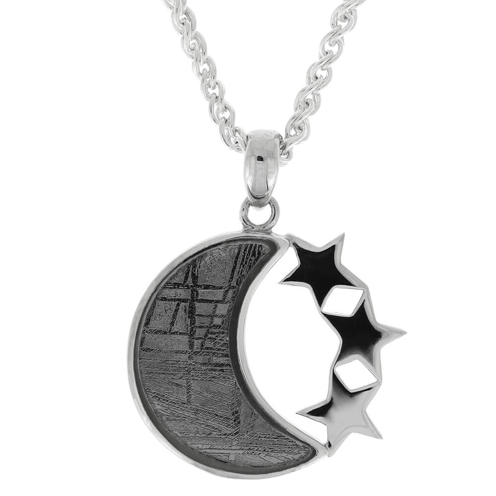 Crescent Moon Necklace with Triple Stars