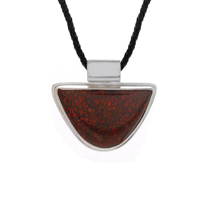 Fossilized Dinosaur Bone Pendant With Leather Cord Necklace-RSSB1381