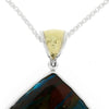 Peruvian Blue Opal And Sterling Silver Pendant, with 18k Yellow Gold Plate Bail-RSSB1834 - Jewelry by Johan