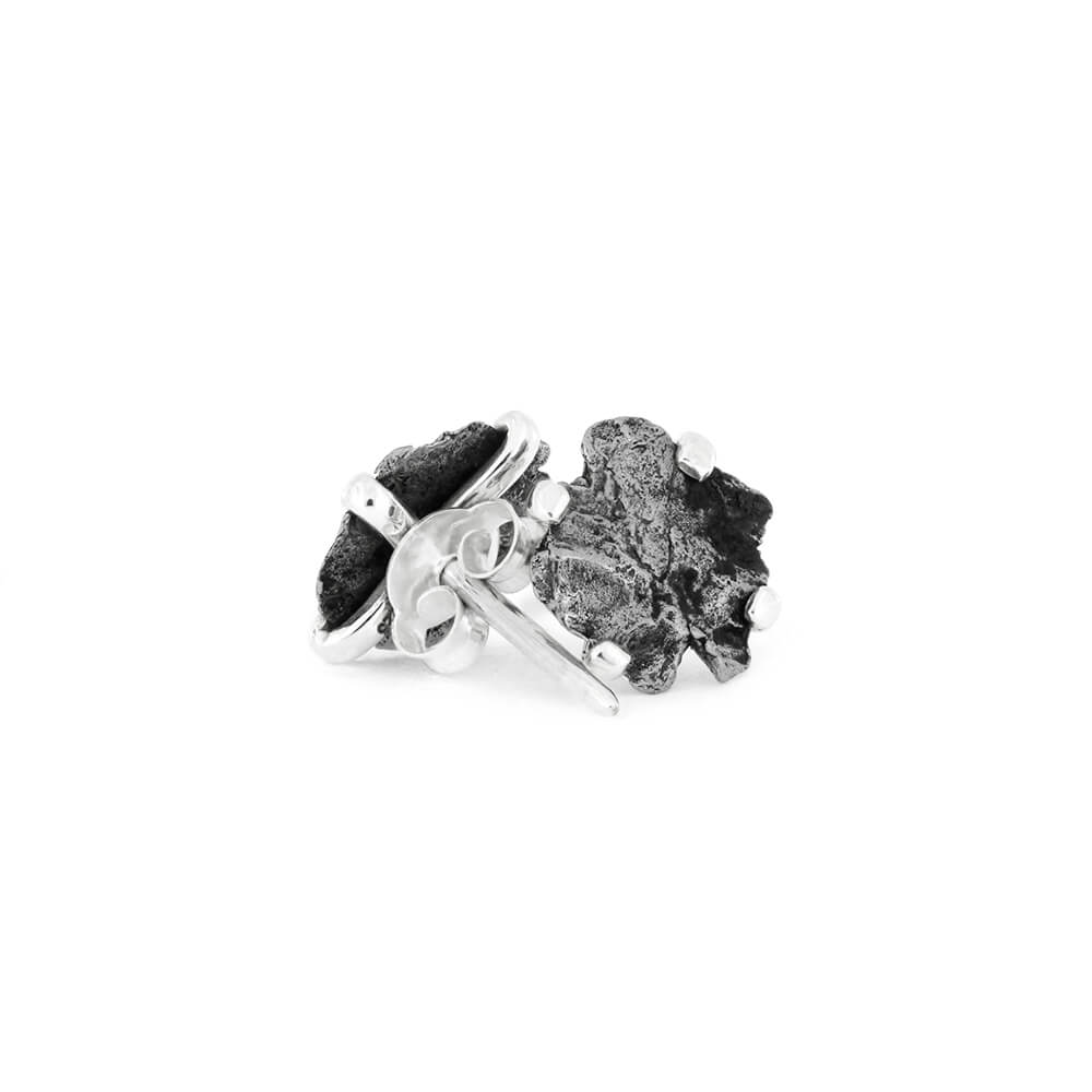 Authentic Meteorite Nugget Stud Earrings, In Stock-RSSB39