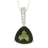 "Moldavite Pendant, Sterling Silver and White Topaz Necklace, 22"" Chain Necklace-RSSB4568"