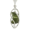 "Moldavite Pendant, 18"" Sterling Silver Chain, Spiral Pendant with Green Stone-RSSB792"