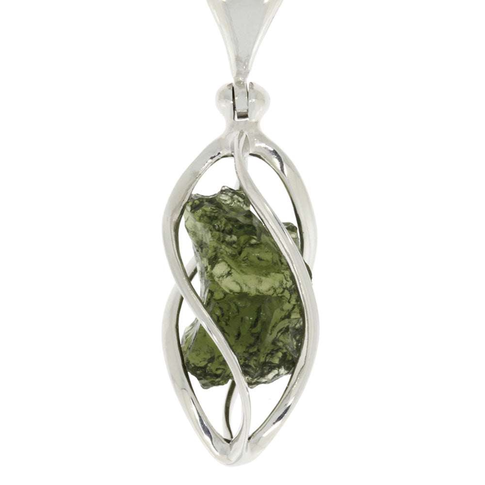 "Moldavite Pendant, 18"" Sterling Silver Chain, Spiral Pendant with Green Stone"