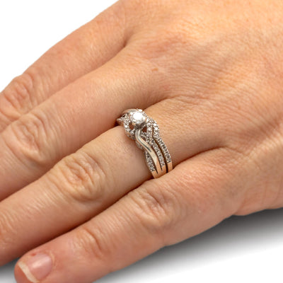 Swirl Diamond Engagement Ring Set, Sterling Silver-SHRB018363-SS - Jewelry by Johan