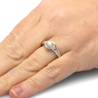 Round Cut Diamond Engagement Ring in Sterling Silver-SHRE028461-SS - Jewelry by Johan