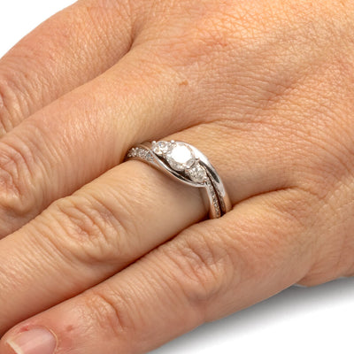 Three Stone Diamond Bridal Ring Set in Sterling Silver-SHRF027476-SS - Jewelry by Johan