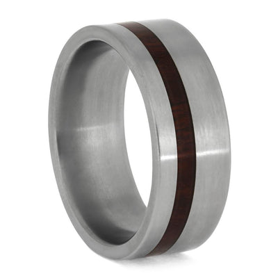 Titanium Wedding Band With Bloodwood Inlay-1250 - Jewelry by Johan