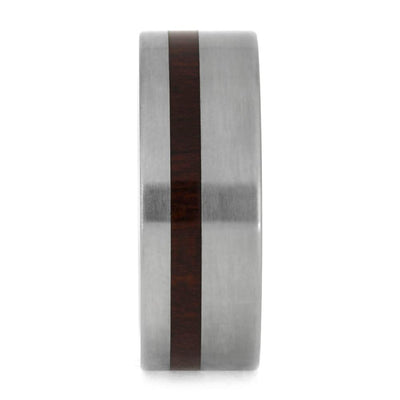 Men's Wedding Band with Red Wood pictured from from