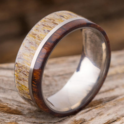 Titanium Ring with Ironwood and Deer Antler-SIG3006 - Jewelry by Johan