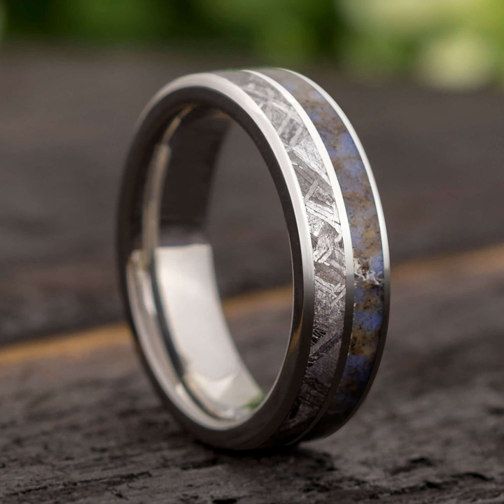Meteorite & Dinosaur Fossil Men's Titanium Ring, In Stock-SIG3011 - Jewelry by Johan