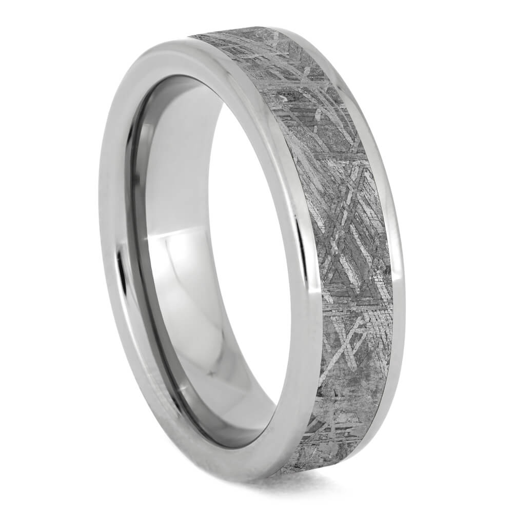 Gibeon Meteorite Ring for Man, Titanium Band-SIG3013