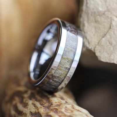Men's Deer Antler Ring With Tungsten Band-2193 - Jewelry by Johan