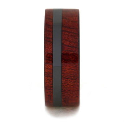 Black Ceramic Ring with Deep Red Bloodwood Overlay, Wood Wedding Band-1623 - Jewelry by Johan