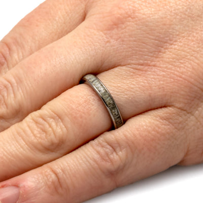 Women's Deer Antler Wedding Ring In Thin Titanium Band-SIG3024 - Jewelry by Johan