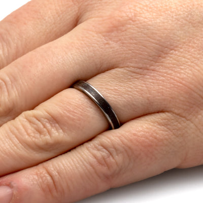 Thin Dinosaur Bone Wedding Band In Titanium-SIG3025 - Jewelry by Johan