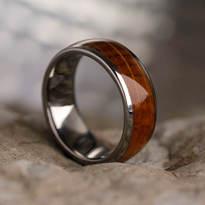 Whiskey Oak Wood Ring In Titanium, Whiskey Barrel Oak Inlay-SIG3029 - Jewelry by Johan