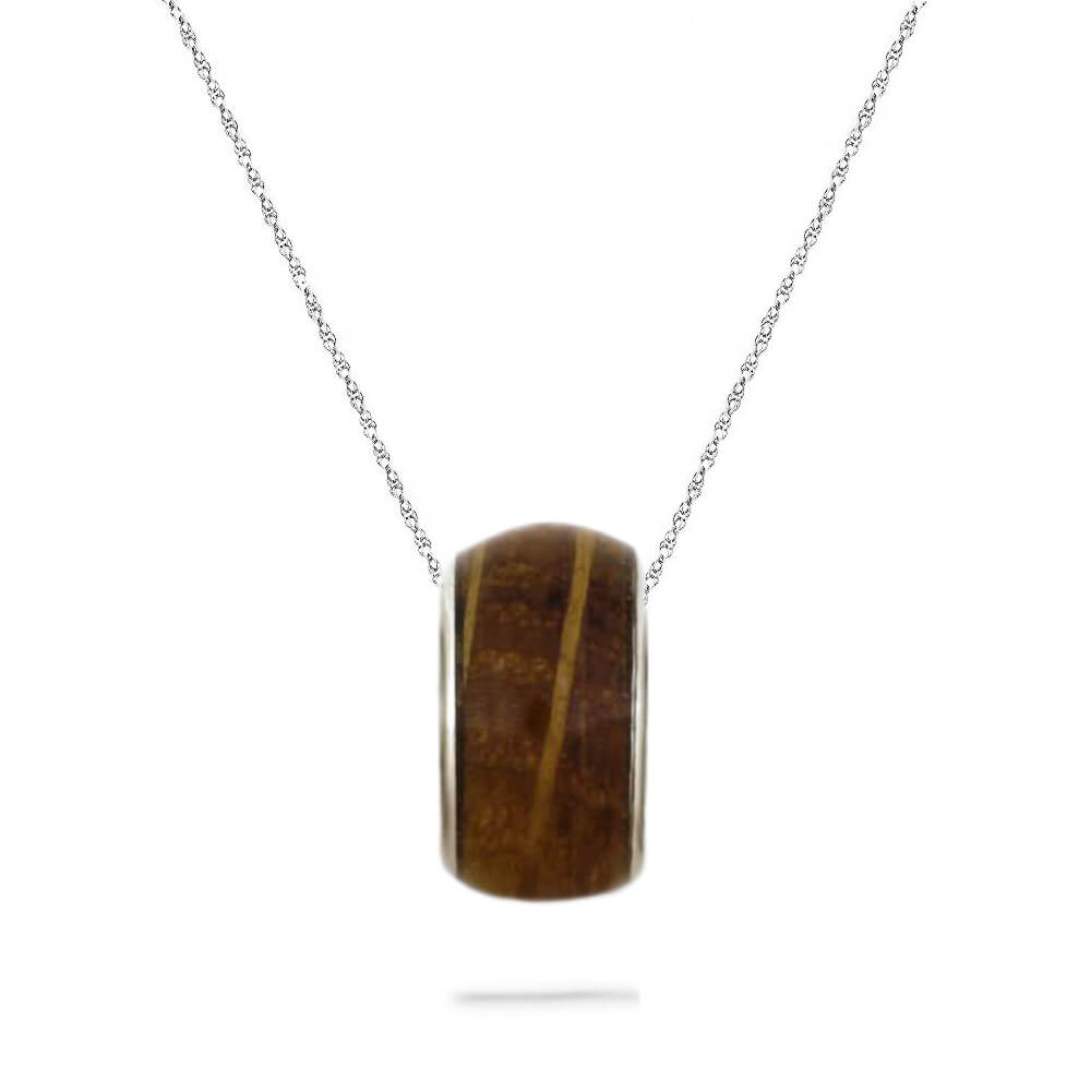 Whiskey Barrel Oak Wood Charm Bead Necklace, In Stock-SIG3034 - Jewelry by Johan