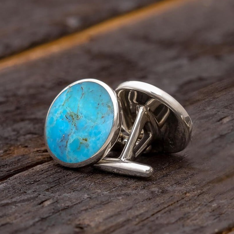 Genuine Turquoise Round Cuff Links, In Stock-SIG3043 - Jewelry by Johan